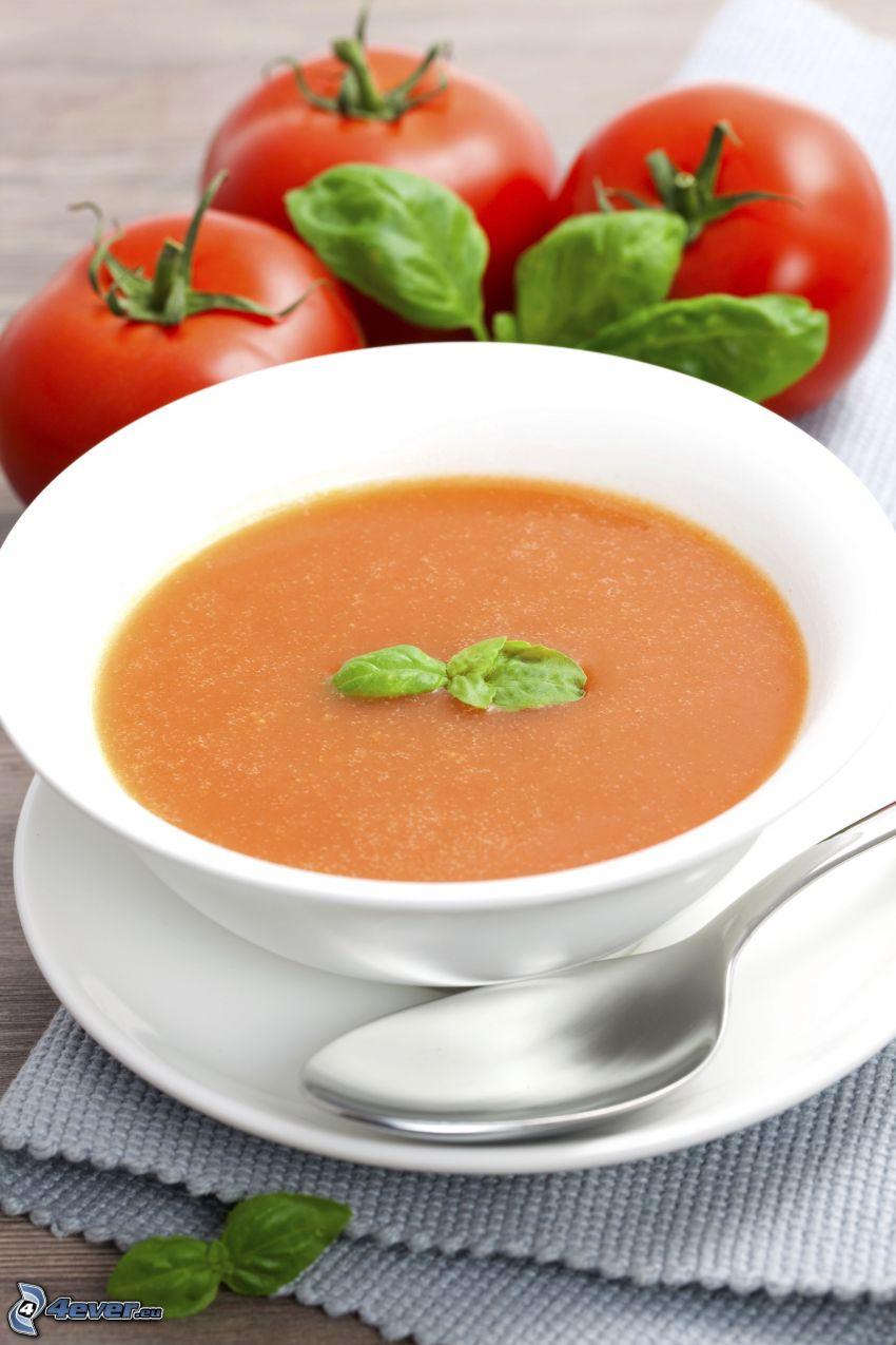 soupe à la tomate, tomates, cuillère