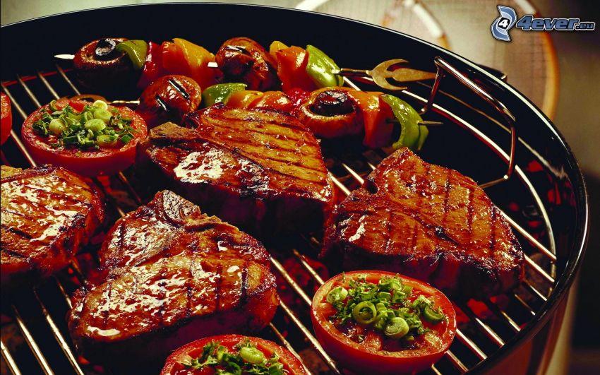 steak, viande grillée, légumes