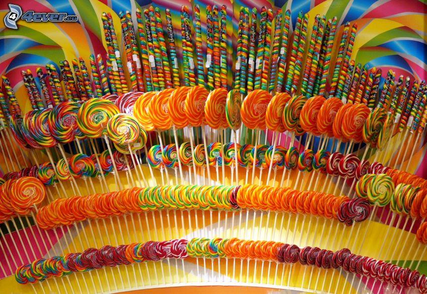 sucettes colorées