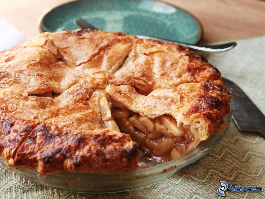 tarte aux pommes, assiette, fourchette