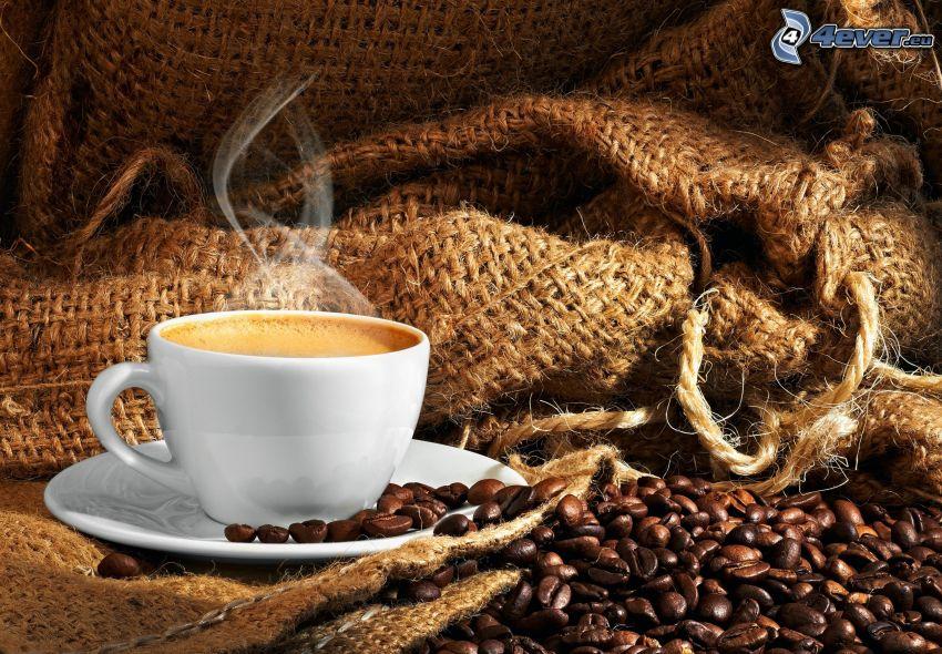 tasse de café, café en grains