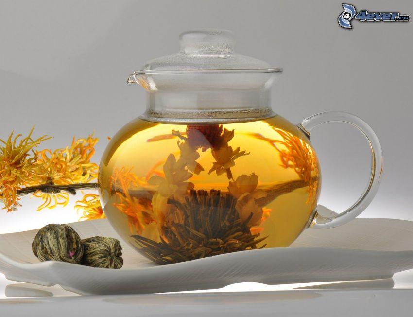 thé de floraison, théière