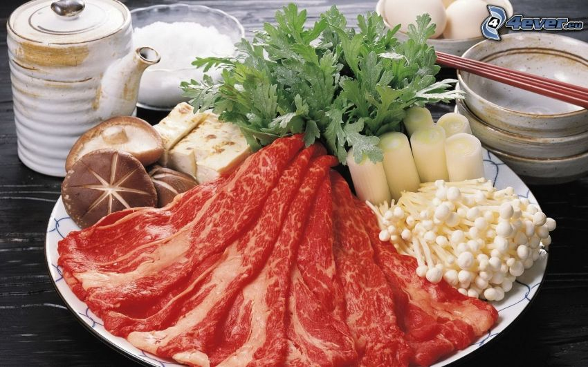 viande, champignons