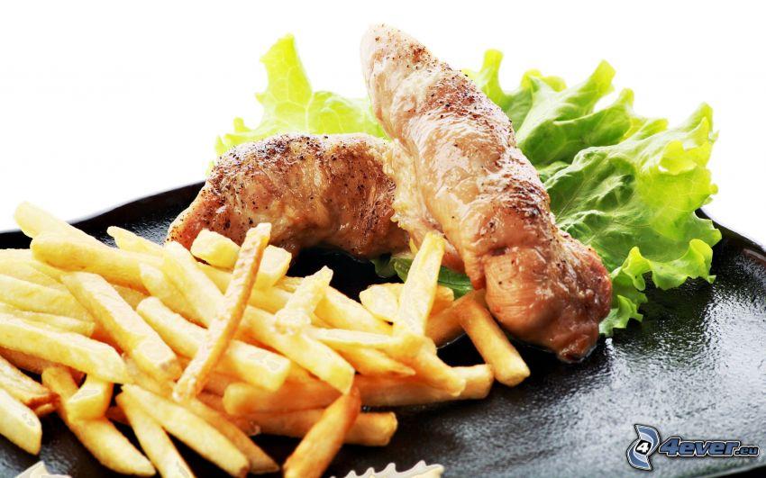 viande, fries