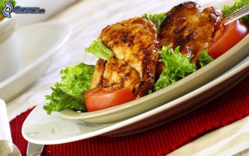 viande, salade, tomates