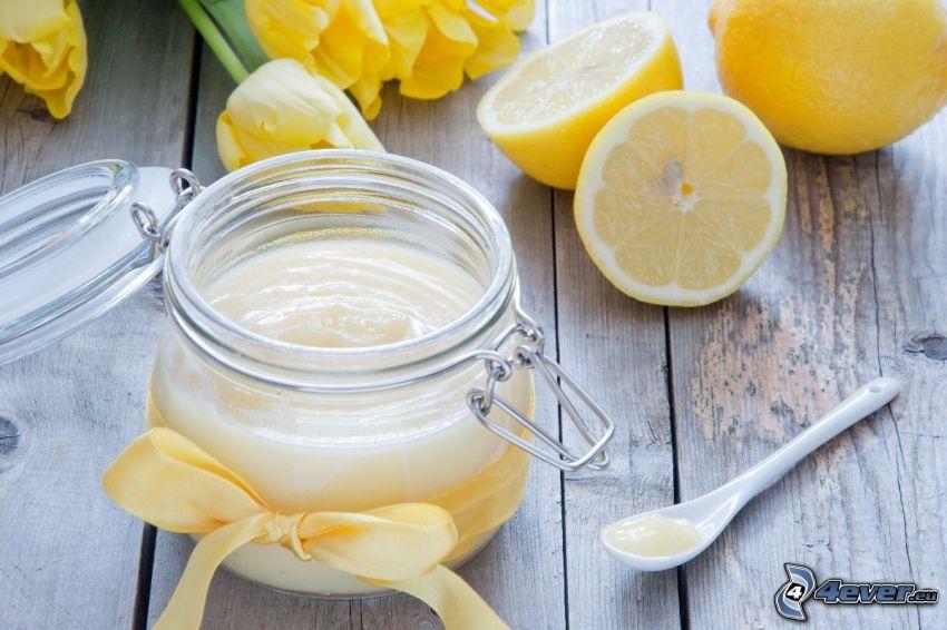 yaourt, citrons, tasse, serre-tęte, tulipes jaunes