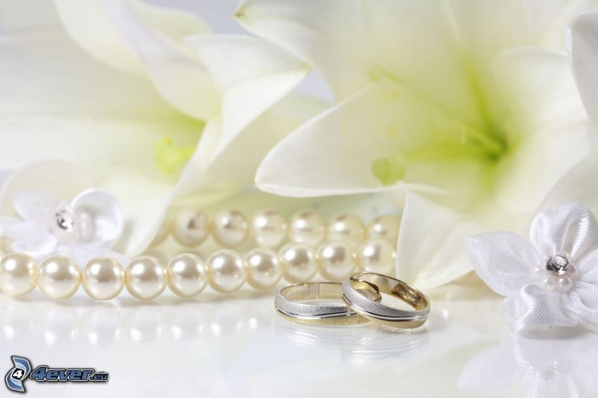 anneaux de mariage, perles