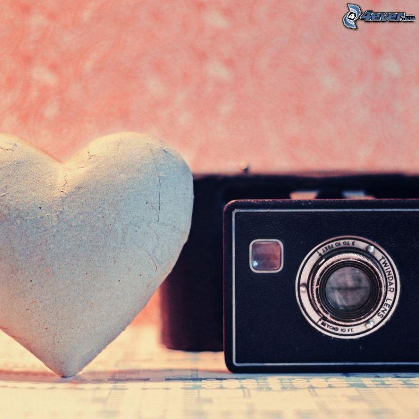 cœur, appareil photo
