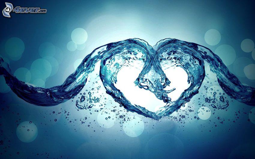 cœur, eau, vagues