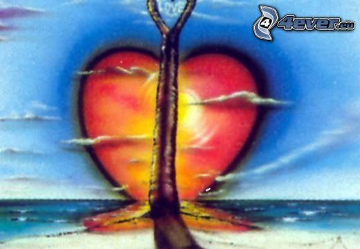 cœur, soleil, mer, arbre, dessin animé