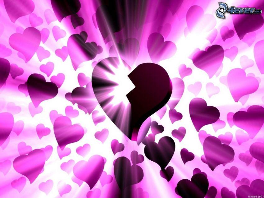 cœur brisé, amour, lueur, violet