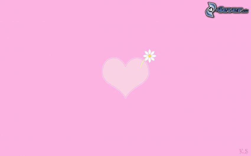 cœur violet, fleur