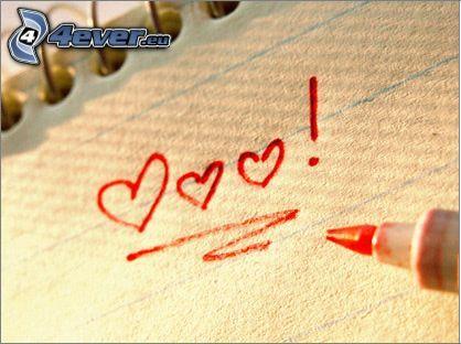 cœurs, amour, cahier