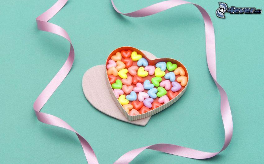 cœurs, bonbons, ruban