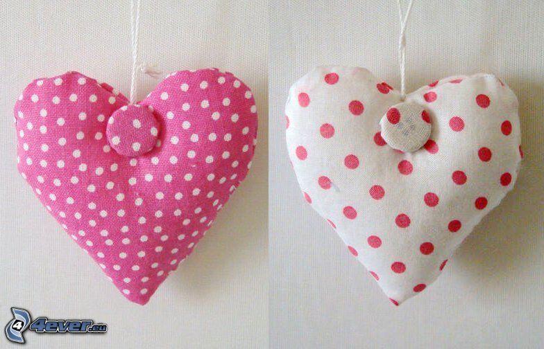cœurs, oreillers
