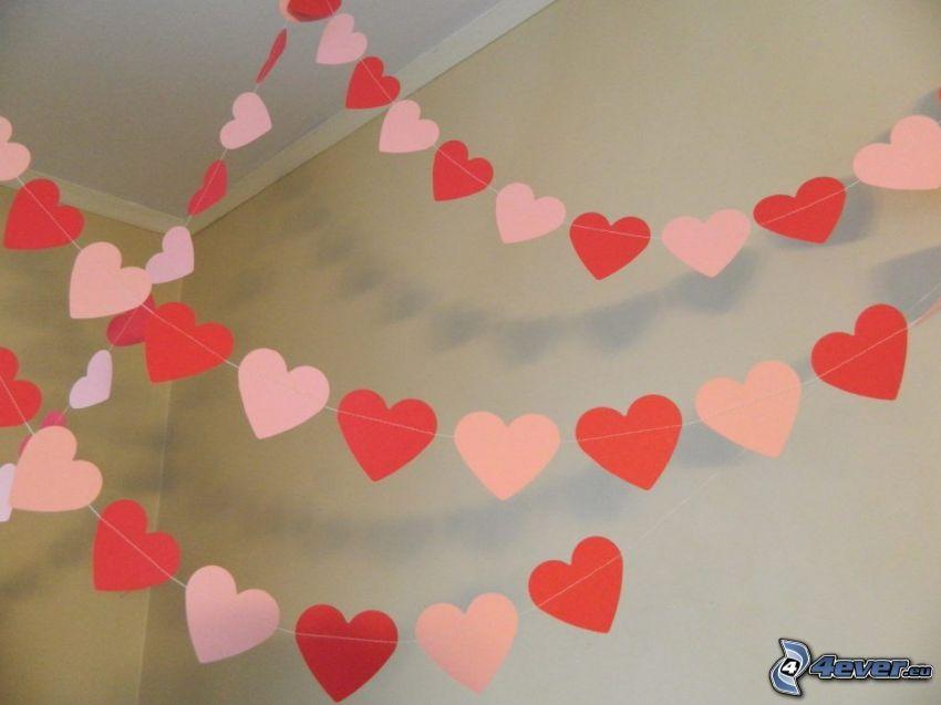 cœurs, papier
