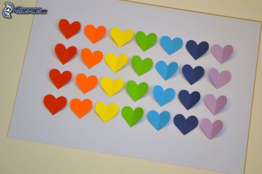 cœurs colorés, feuille de papier