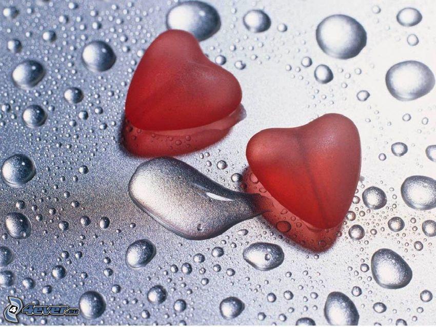 deux cœurs, amour, gouttes d'eau