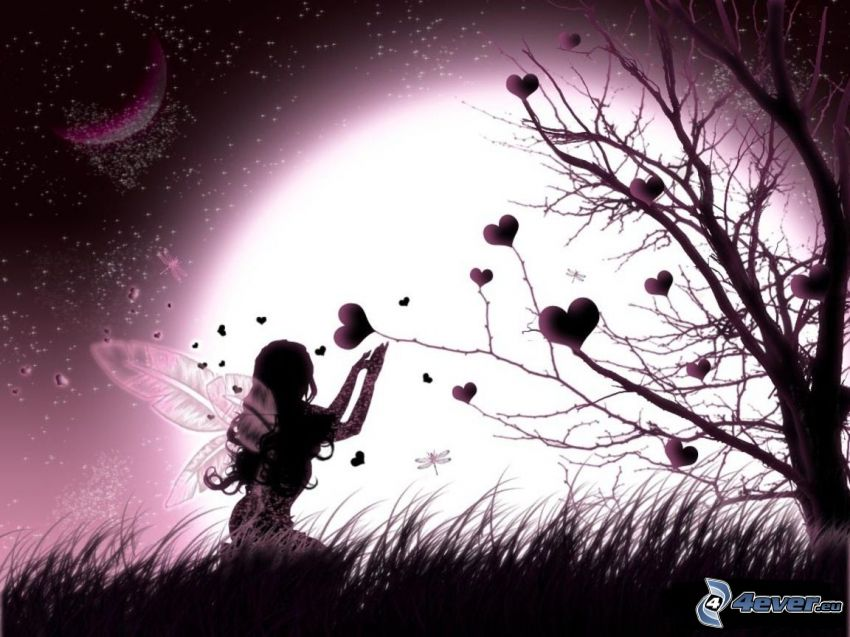 fée, cœurs, silhouette de l'arbre, soleil