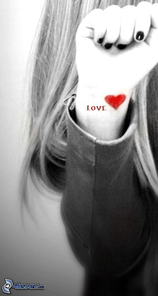 main, cœur, amour, love