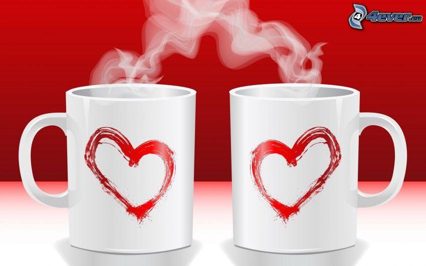 Tasses, cœurs, vapeur