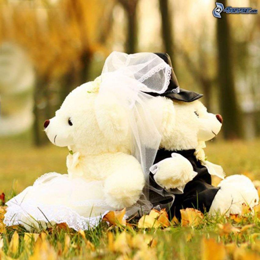 couple de mariage, animaux en peluche