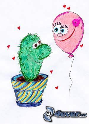 amour, cactus, ballon