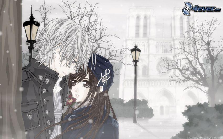 anime couple, couple dessiné, chute de neige, réverbère, église