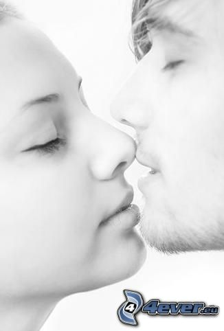 baiser, l'attraction, amour
