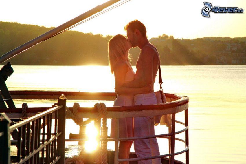 couple, baiser, lac, jetée