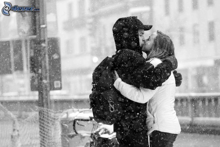 couple, bouche, neige, chute de neige
