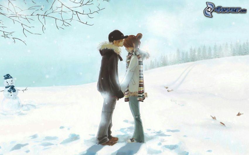 couple dessiné, baiser, homme de neige, l'hiver