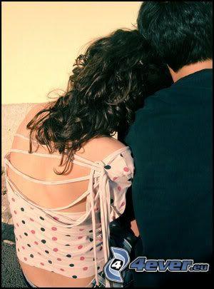 étreinte, amour, homme et femme