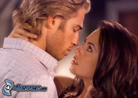 homme et femme, regard, passion, amour, couple