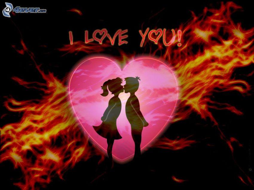 I love you, couple dessiné, amour, cœur, baiser