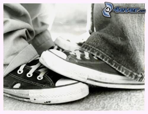 jambes, amour, Converse