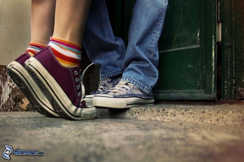 jambes, couple, baiser
