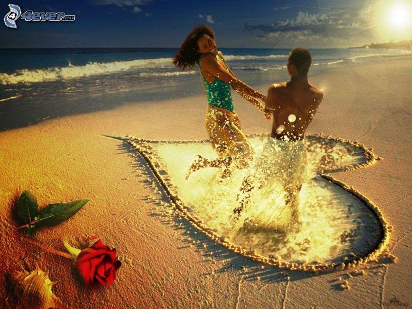 s'amuser sur la plage, amour, cœur, rose