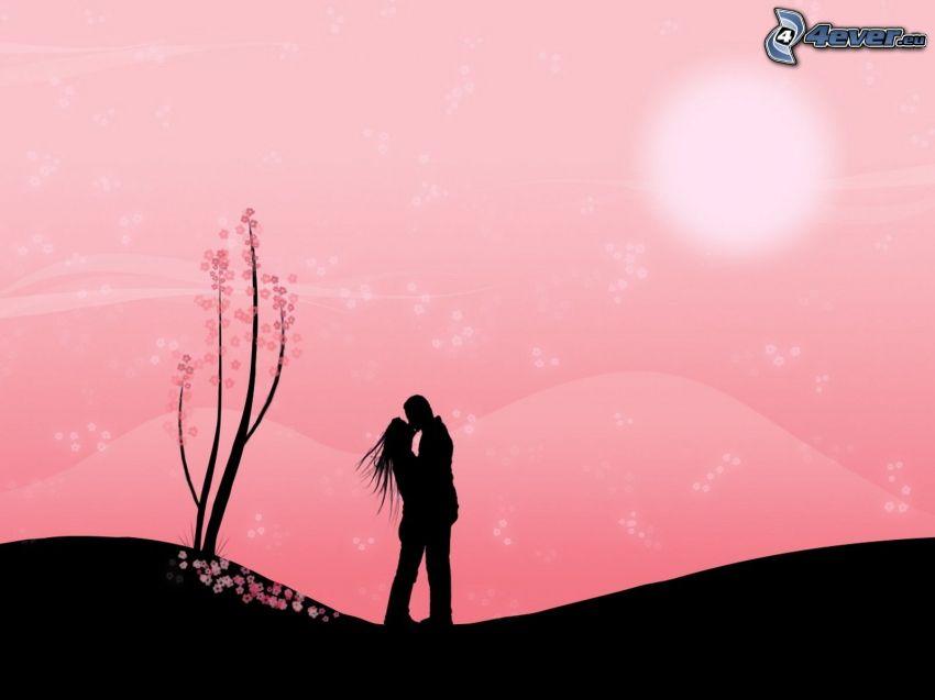 silhouette du couple, baiser, l'art numérique