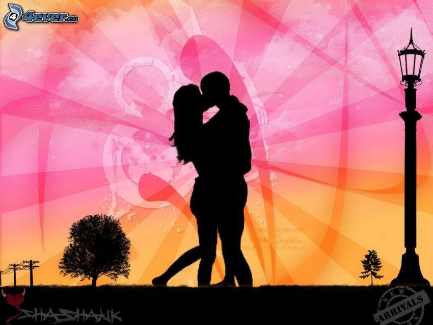 silhouette du couple, baiser
