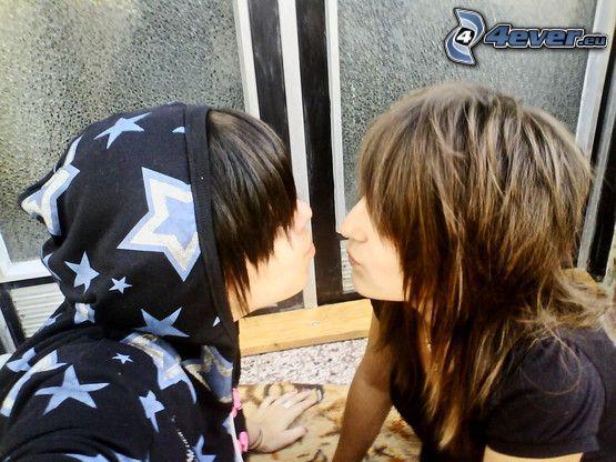 emo, amour, baiser, cheveux, amis