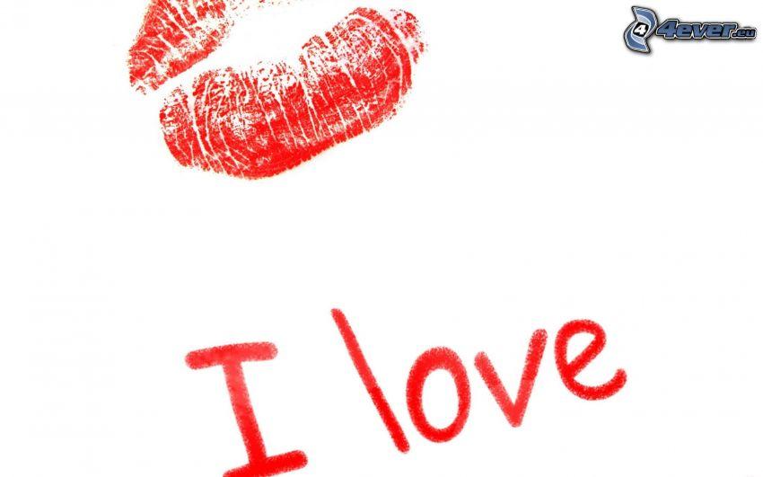 I love you, lèvres rouges, empreinte