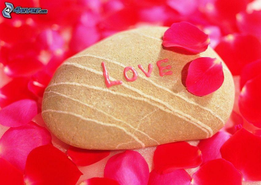 love, pierre, amour, pétales