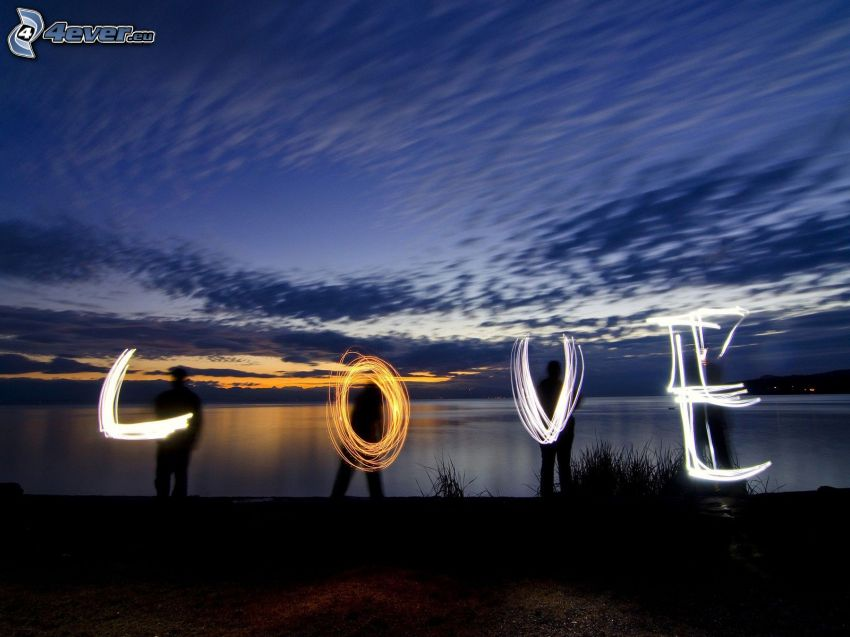 love, silhouettes, mer, nuages, lightpainting