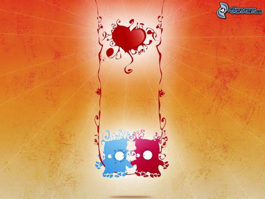personnages de dessins animés, couple sur une balançoire, cœur, amour