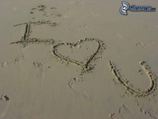 I <3 U, Je t'aime, amour, sable, cœur