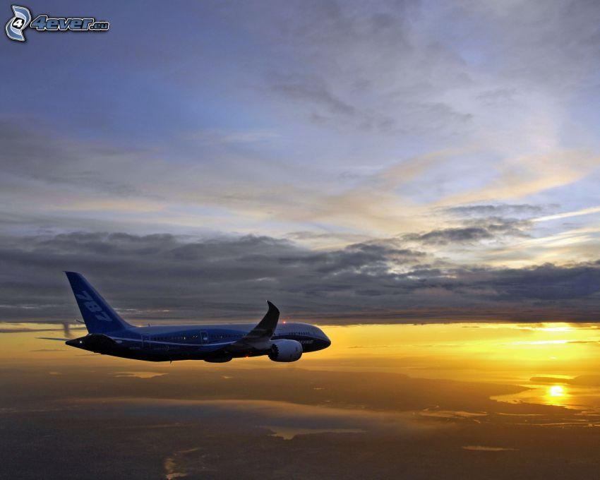 avion, coucher du soleil, nuages