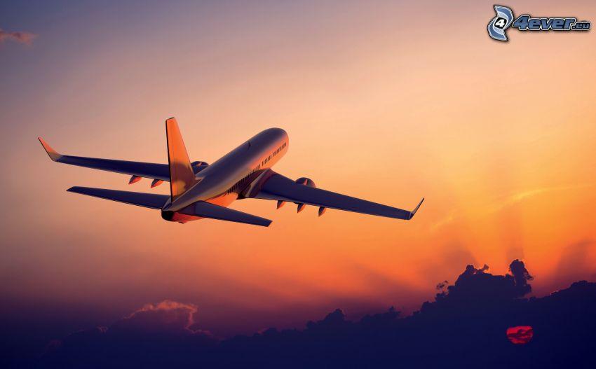 avion, lever du soleil