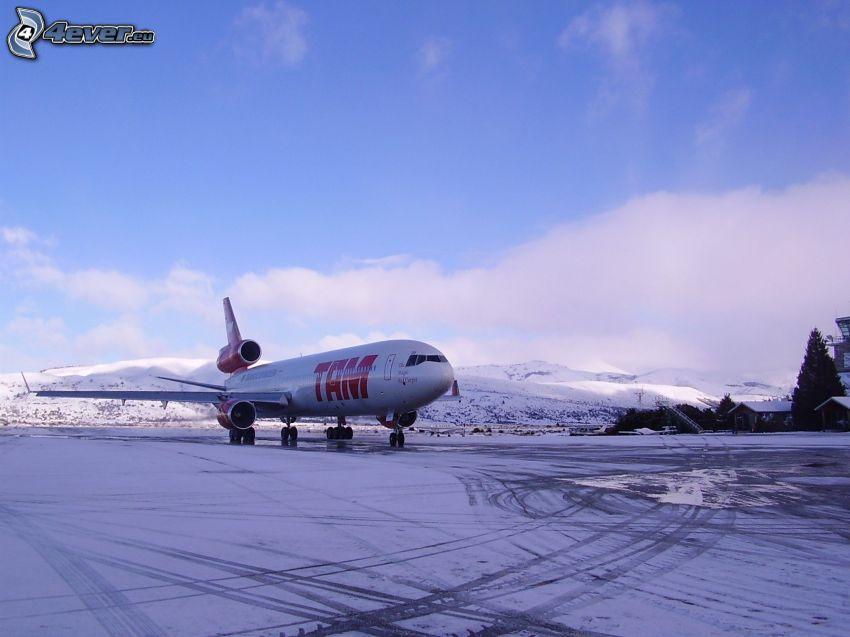 avion, neige