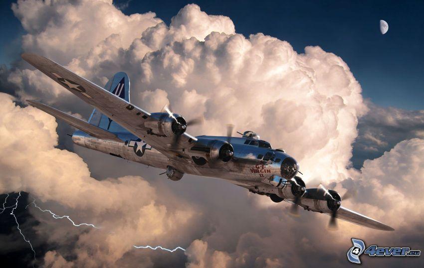 avion, nuages, foudre, lune